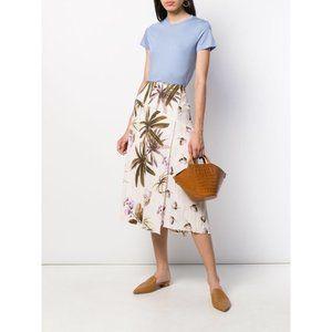 VINCE Tropical Garden Midi Surplice Skirt Size 10
